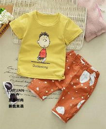 Pre Order - Tickles 4 U Boy Print Tee & Shorts Set - Mustard