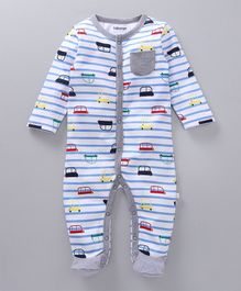 Babyoye Striped Full Sleeves Footed Romper Cars Print - Blue