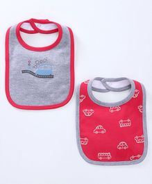 Babyoye Snap Button Closure Bibs Car Print Pack of 2 - Red Grey