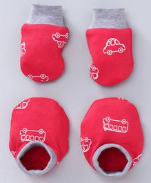 Babyoye Mittens & Booties Set Car Print - Red