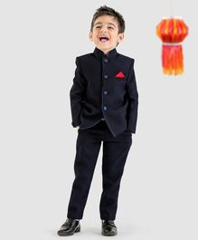Babyoye Party Wear Full Sleeves Woven Nehru Jacket And Trouser - Navy Blue