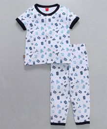 Wow Clothes Half Sleeves Night Suit Alphabets Print - White Navy Blue
