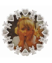 Crown Forever Frazer and Haws Photo Frame With Bear & Heart Rim - Silver & Black