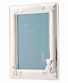 Crown Forever Frazer And Haws Photo Frame With Bear - Silver