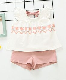 Lil Mantra Cap Sleeves Top & Shorts Set - Pink