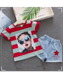 Lil Mantra Girl Print Striped Top & Shorts Set - Red