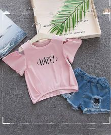Lil Mantra Happy Print Cold Shoulder Top & Ripped Shorts Set - Pink