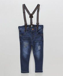 ToffyHouse Jeans With Adjustable Elastic Waist & Suspenders - Blue