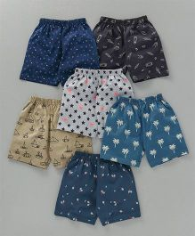 Ollypop Printed Shorts Pack of 6 - Multi Color
