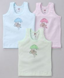 Zero Sleeveless Vests Elephant Print Pack of 3 - Blue Pink Green
