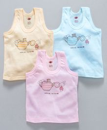 Zero Sleeveless Vests Bear Print Pack of 3 - Cream Pink Light Blue