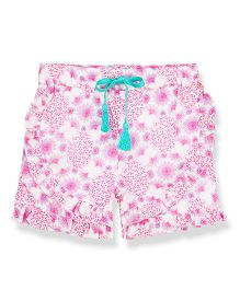 Young Birds All Over Print Ruffled Shorts - Pink