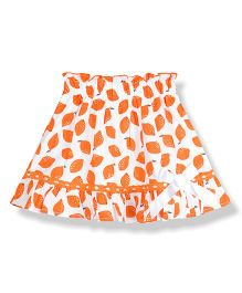 Young Birds Lemon Print Skirt - Orange