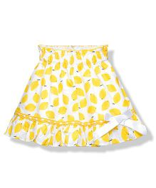 Young Birds Lemon Print Skirt - Yellow