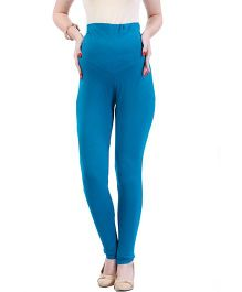 MomToBe Lycra Maternity Leggings - Blue