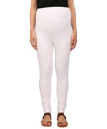 MomToBe Lycra Maternity Leggings - White (Medium)