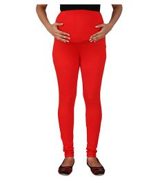 MomToBe Lycra Maternity Leggings - Red