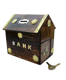 Desi Karigar Wooden Hut Shaped Piggy Bank - Brown