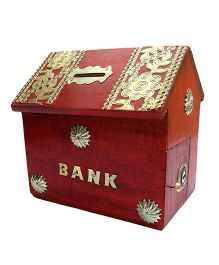 Desi Karigar Wooden Hut Shaped Piggy Bank - Red