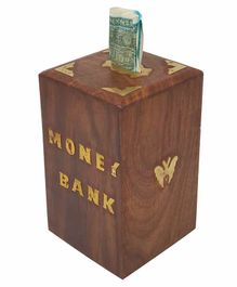 Desi Karigar Sheesham Wood Money Bank - Dark Brown