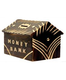 Desi Karigar Wooden Hut Shaped Antique Cut Work Money Bank - Brown
