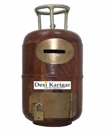 Desi Karigar Wooden Cylinder Shaped Money Bank - Brown