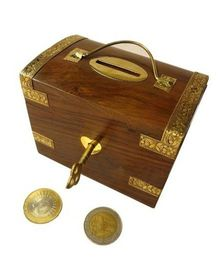 Desi Karigar Wooden Trunk Shaped Piggy Bank - Brown