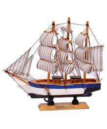 Desi Karigar Wooden Ship Showpiece - White