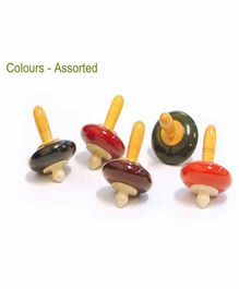 Desi Karigar Wooden Spinning Tops Pack of 5 (Assorted Colours)