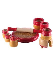 Desi Karigar Wooden Toy Kitchen Set - Red