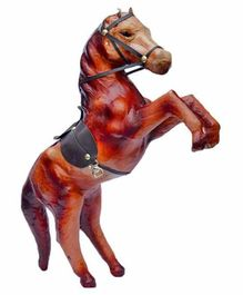 Desi Karigar Leather Horse Showpiece - Brown