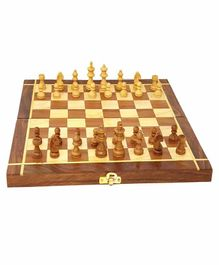 Desi Karigar Wooden Folding Chess Board Brown - 12 inches