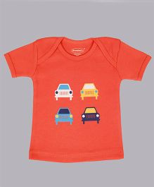 Grandma's Half Sleeves T-Shirt With Car Print - Orange