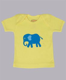 Grandma's Half Sleeves T-Shirt With Elephant Print - Yellow