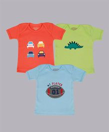 Grandma's Car Dino & Ball Print T-Shirt Pack Of 3 - Orange Blue Green