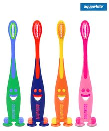 aquawhite Junior Toothbrush Smiley Design Pack of 4 - Multicolor
