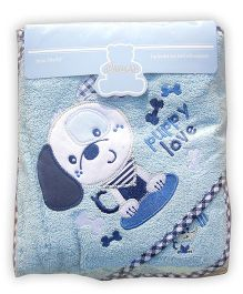 Owen Hooded Terry Towel With Wash Cloth Puppy Design - Blue