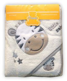 Owen Hooded Terry Towel With Wash Cloth Zebra Design - Grey