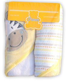 Owen Knit Hooded Towel Yellow - Pack Of 2