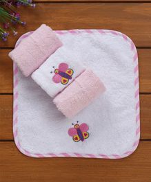 Owen Terry Wash Clothes Butterfly Design Pack of 4 - Pink