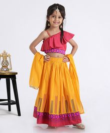 Babyhug One Shoulder Choli WIth Printed Lehenga & Netted Dupatta - Pink Yellow