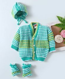 Babyhug Full Sleeves Sweater And Booties With Cap -Sea Green