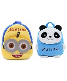 Frantic Velvet Nursery Minion and Blue Panda Bag Multicolour Pack of 2 - Height 14 Inches