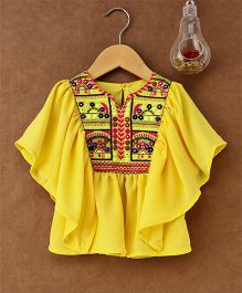Little Kangaroos Flutter Sleeves Embroidered Top - Yellow