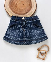 Little Kangaroos Printed Denim Skirt - Dark Blue