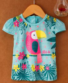Little Kangaroos Cap Sleeves Top Bird Print - Blue