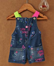 Little Kangaroos Singlet Denim Jumpsuit Summer Days Print - Dark Blue