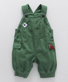 Little Kangaroos Solid Color Dungaree - Olive Green