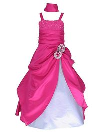 Fairy Dolls Flower Design Long Gown - Pink