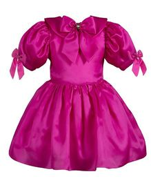 Fairy Dolls Collar & Puff Sleeves Dress - Pink